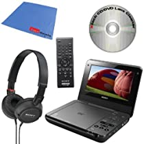 Sony DVP-FX750 7-Inch Portable DVD Player (Black) + Sony MDRZX100/BLK ZX Series Stereo comfortable Collapsible Headphones & Xtech DVD Lens Cleaner