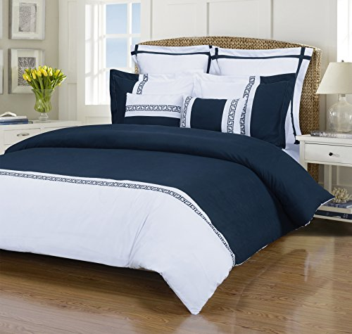 Impressions Emma 7-Piece, Wrinkle Resistant, King/California King Duvet Cover Set, White/Navy Blue