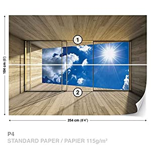 Window Sky Clouds Sun Nature - Photo Wallpaper - Wall Mural - Giant Wall Poster - XL - 254cm x 184cm - Standard Paper (NOT EasyInstall) - 2 Pieces from Consalnet