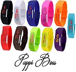 Pappi Boss Digital Multi-Colour Dial Womens LED Sports Watch-LED Digital Watches