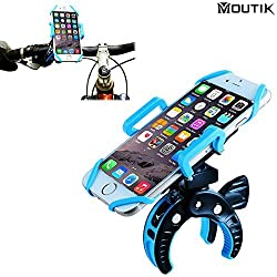 MOUTIK Bike Bicycle Handlebar Phone Mount Smart Phone Holder with Elastic Band Motorcycle Scooter baby strollers Roll bar Clip for iPhone 7 6s 6plus 5s for Samsung S7 Note 5 Blue