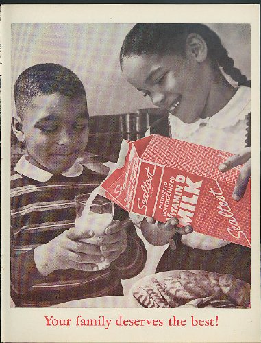 Your Family Deserves The Best! Sealtest Vitamin D Milk Ad 1962 Negro Children