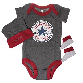CONVERSE All Star Infant Baby 3 Piece Suit Hat & Booties