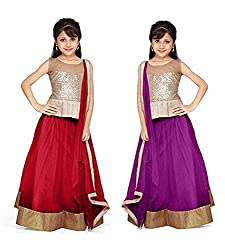 Purva Art Red & Purple Net Kid's Lehengha Choli