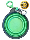 Collapsible Bowl/Water Dish, Plus Patent-pending Bottle Holder & Clip for Travel - 12oz - Eco-Friendly - BPA Free - FDA Approved - By nudogs