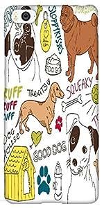 Snoogg i love dogs vector doodles set Hard Back Case Cover Shield For Xiaomi Mi4i / Mi4I