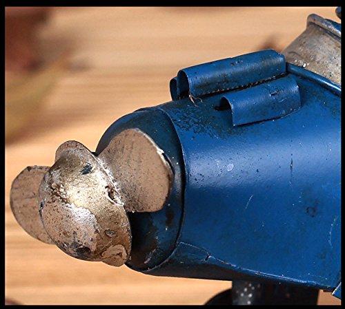 Berry President® Vintage / Retro Wrought Iron Metal Propeller Airplane Plane Aircraft Handicraft Models -The Best Choice for Photo Props/christmas Gift/home Decor/ornament/souvenir Study Room Desktop Decoration (Blue)