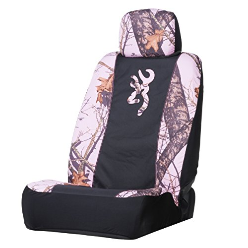 Browning Pink Camo Low-Back Bucket Seat Cover (Mossy Oak Pink Break-Up Camouflage, Heavy-Duty Polyester Fabric, Includes Headrest Cover, Sold Individually) (Bucket Seat Covers Pink compare prices)