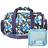 MyKazoe Kids Travel Cheer Dance Duffle Bag With Shoes Storage Compartment + Bonus Mesh Bag (Blue Puzzle (B))