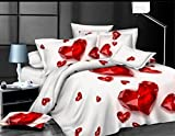 3d Oil Bedding Sets Home Textile the Ruby White Background 4pcs Bedding Set Queen Size Duvet Cover ?Bed Sheet ?Pillow Case :100% Cotton Christmas Gift, (Comforter Not Included)