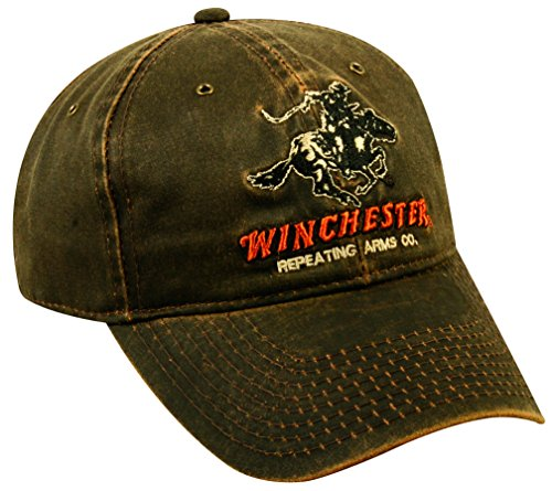 winchester-winchester-dark-brown-weathered-cotton-cap-w-repeating-arms-co-horse-and-rider-logo