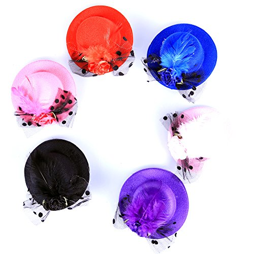 Anleolife Kids Hats Fascinators/Baby Mini Top Hat Hair Clip/Pets PoodlesTop Hat/Girls Hair Accessories Fascinator Party Hats Dancing Cocktail Feather Headband Hair Clip 3.2inch Pink/Black/Red/Blue/Purple 5pcs/lot Sweet Girl Kid Lady