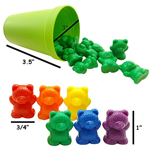 Preschool Manipulative Toys : Rainbow counting bears with color matching sorting cups