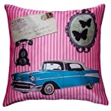 Bandbox CAR VINTAGE - CUSHION COVER - Pink (Size:- 16 In. X 16 In.)