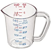 Carlisle 4314107 Clear 1 Cup Polycarbonate Measuring Cup (Case of 12)
