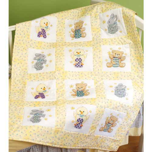 Janlynn Stamped Cross Stitch Quilt Blocks, ABC