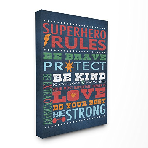 The Kids Room by Stupell Dark Blue Superhero Rules Canvas Wall Art