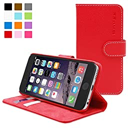 Snugg Leather Wallet Case for iPhone 6 / 6s - Red