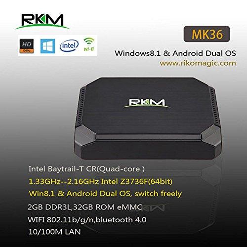 Flying Colourz Rkm noyau mk36 quad mini-pc windows 8.1 et Android 4.4 double os z3736f RAM 2gb 32gb rom