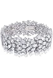 Bling Jewelry Oval Bridal Tennis Bracelet Clear CZ 8in Rhodium Plated