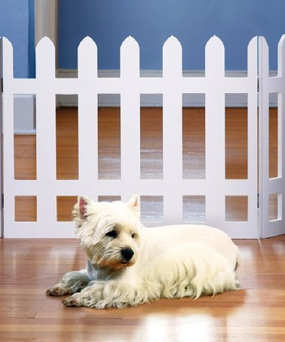 White Picket Fence Folding Pet Gate - 1