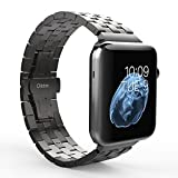 Apple Watch Band, Oittm 42mm Stainless Steel Replacement Strap Double Button Metal Clasp Classic iWatch Wristband for Apple Watch (Space Gray 42mm)