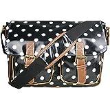 Floral Polka Dots Ladies Oilcloth Satchel Messenger Shoulder Hand School Bag