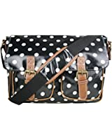 Floral Polka Dots Ladies Oilcloth Satchel Messenger Shoulder Hand School Bag