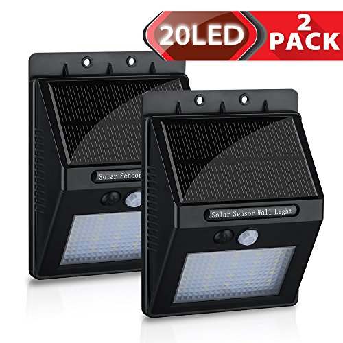 2-Pack-20-LED-Solar-Motion-Light-Homitt-Outdoor-Sensor-Security-LED-light-For-Garden-Pathway-Deck-Stair-400-Lumens-Super-Bright-Waterproof-Intelligent-Two-Sensing-Modes