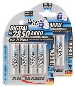 ANSMANN 5035092-590 Power NiMH Akku (AA Mignon, 2850mAh, 8-er Pack), 8 Akkus