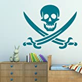 Skull & Crossbones - Interior Wall Transfer / Removable Vinyl Decal RA61