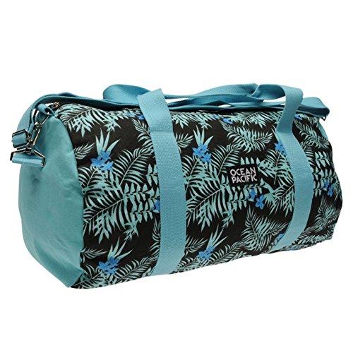 ocean-pacific-tropical-aop-duffle-bag-blue-black-ladies-holdall-carryall-h-26cm-w-44cm-d-26cm