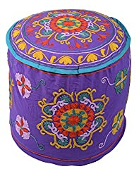 Indian Ottoman Purple Cotton Floral Embroidered Pouf Cover By Rajrang