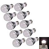 10X E27 3W 270 Lumen High Power White LED Light Bulb (12V) Image
