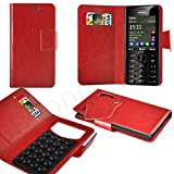 Case In Your Face® - Nokia C2-02 Red PU Leather Suction Pad Wallet Case Cover & Retractable Stylus Pen