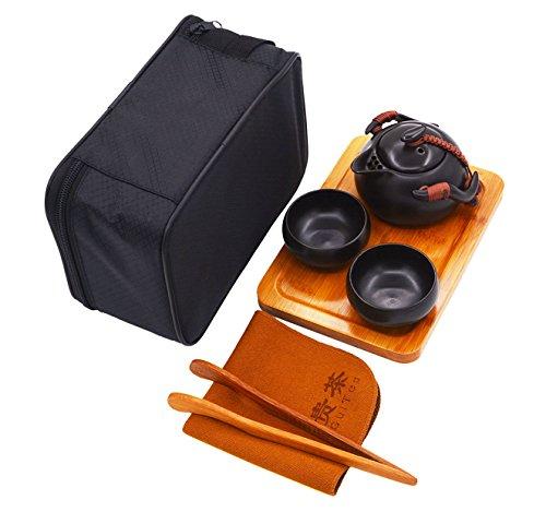Vegali Chinese / Japanese Style Portable Travel Kungfu Tea Set-100% Handmade (Black) (Japanese Tea Service Set compare prices)