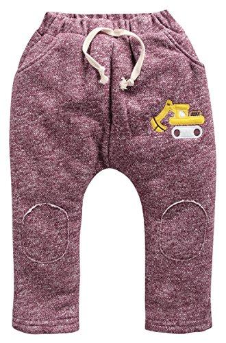 Mrignt Children's Winter Cotton Active Elastic Kids Pants (2T, Red)