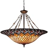 Quoizel TF1901VB Adriana 1 Light Pendant, Vintage Bronze with Tiffany Glass Shade