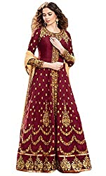 Justkartit Women's Semi-Stitched Red(Maroon) Colour Dhupion With Thread Embroidery Wedding Wear Long Ankle Length Anarkali Style Dress Material / Special Occasion Wear Exclusive Indian Ethnic Wear