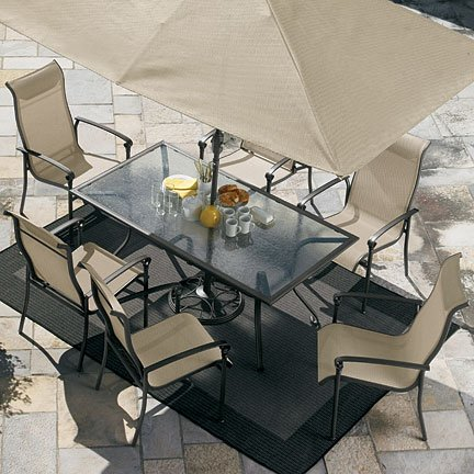 garden furniture with umbrella outdoors design