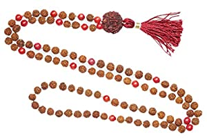 Muladhara Chakra 108 Mediation Mala Beads Coral SUN Energy Prayer Rosary Japamala Gift Her