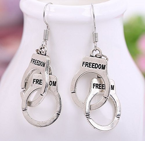 [Mxnpolar Fifty 50 shades of Grey Cosplay Handcuff Earrings Accessory] (50s Make Up)
