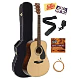 Yamaha Acoustic Guitar Bundle with Hardshell Case, Tuner, Strap, Strings, Austin Bazaar Instructional DVD, Picks, and Polishing Cloth - Natural