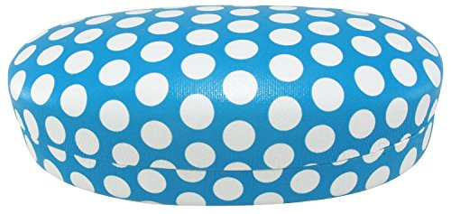 Evolution Eyes Hard Clamshell Sunglass and Eyeglass Polka Dot Case, Fits All Frames, Linen Light Blue