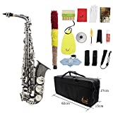 ammoon Brass Bend Eb E-flat Alto Saxophone Sax Black Nickel Plating Abalone Shell Keys Carve Pattern with Carrying Case Gloves Cleaning Cloth Straps Grease Brush