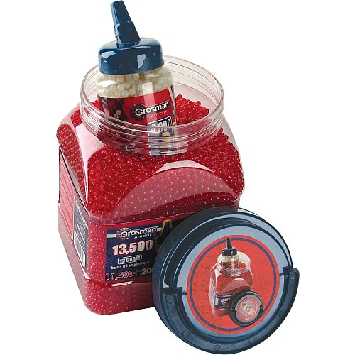 Crosman 11,500 Translucent Red .12G 6mm BBs and 2000 Glow In-The-Dark .12G 6mm AirSoft BBs