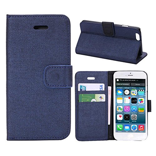 Iphone 6 Phone Case Borch Fashion Multi-Function Wallet For Iphone 6 Case Luxury Pu Leather Carrying Case Cover With Credit Id Card Slots/ Money Pockets Flip Leather Case For Iphone 6 5.5 Inch Borch Screen Protector (Blue)
