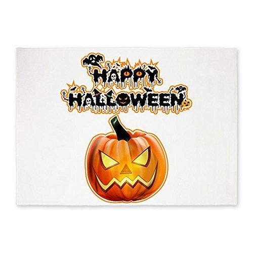 5' x 7' Area Rug Happy Halloween Pumpkin