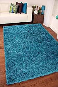 TEAL BLUE LUXURIOUS THICK SHAGGY RUGS 7 SIZES AVAILABLE 120cm x 170cm (4ft x 5ft 7) by Modern Style Rugs