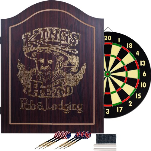 Best Review Of King's Head Dark Wood Dartboard Cabinet Set